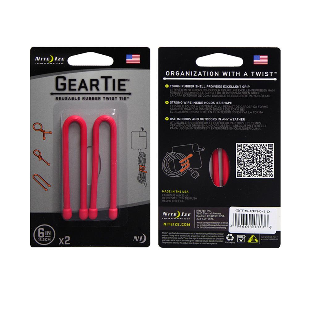 Gear Tie 6 inch Red Reusable Rubber Twist Tie 2pk