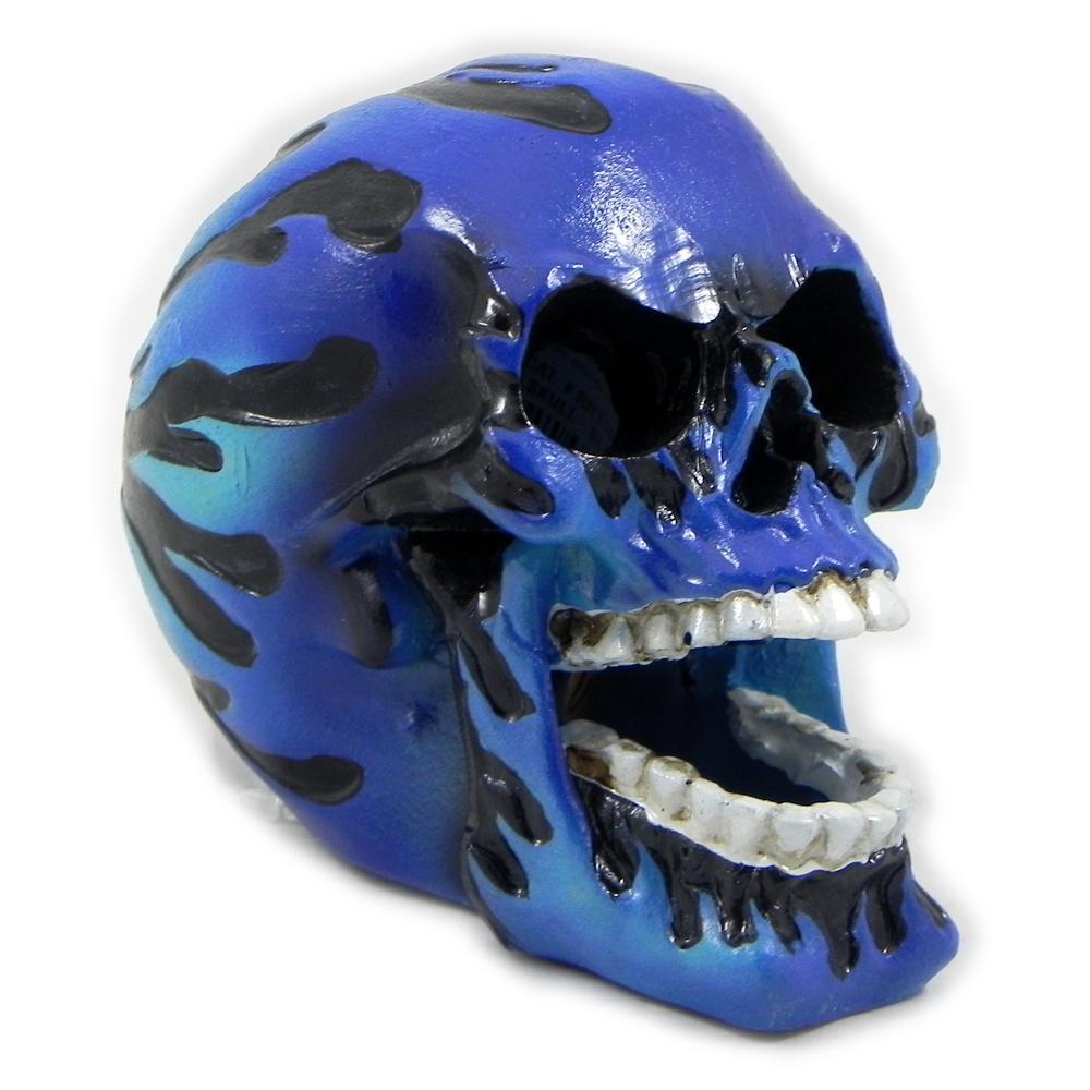 Flaming Skull Small Aquarium Ornament