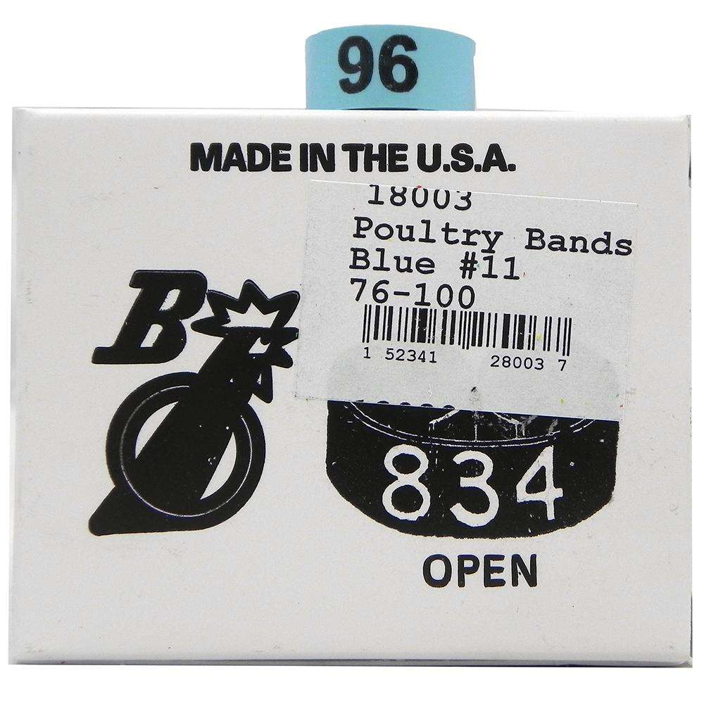 Poultry Numbered Leg Bands Blue Size 11 Numbered 76-100