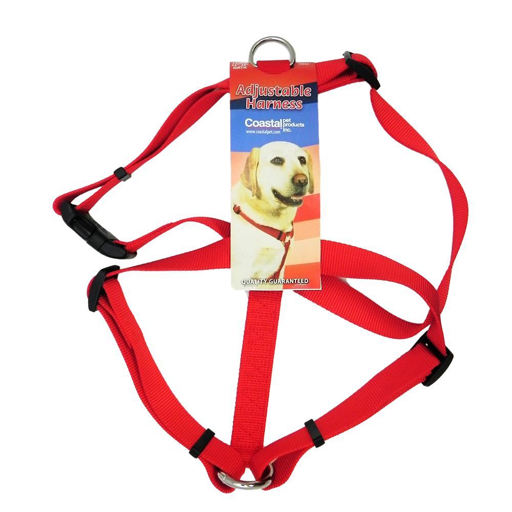 Adjustable Large Dog Harness 1-inch Red Nylon