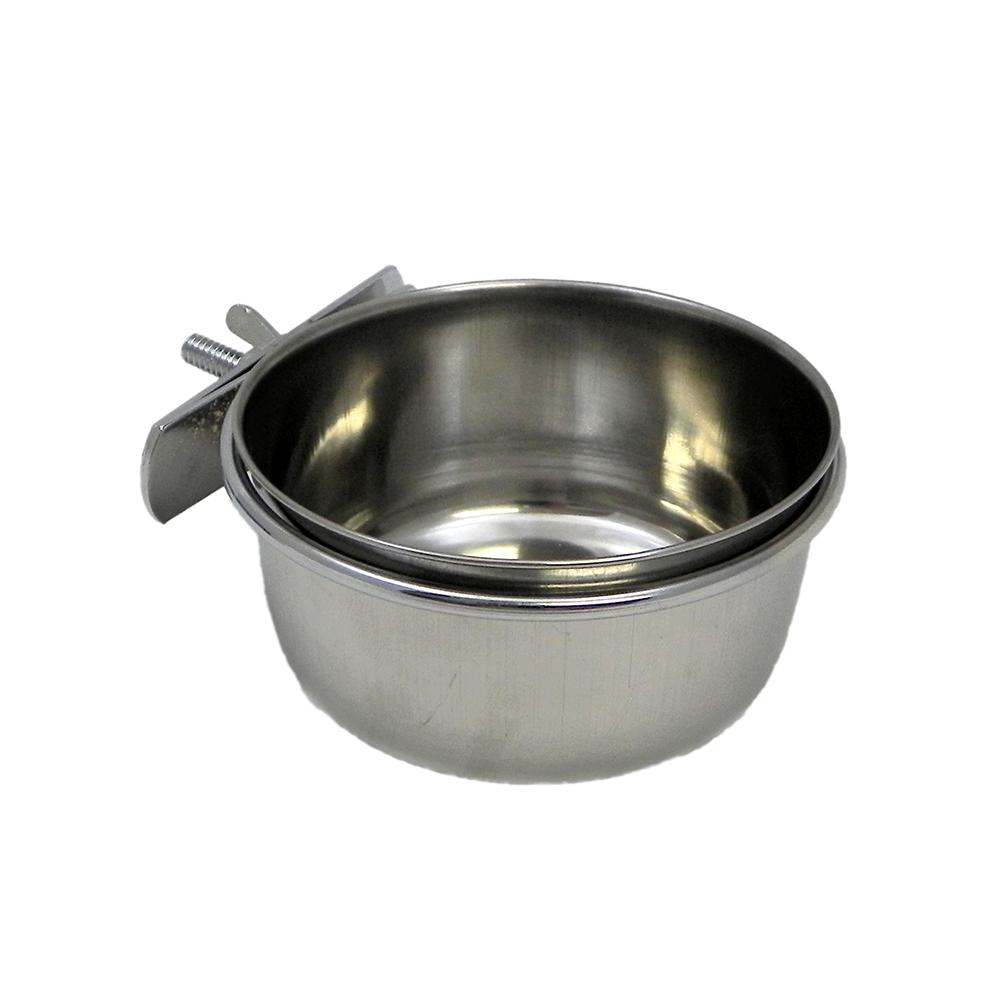 Stainless Bird Dish w/clamp 10 ounce