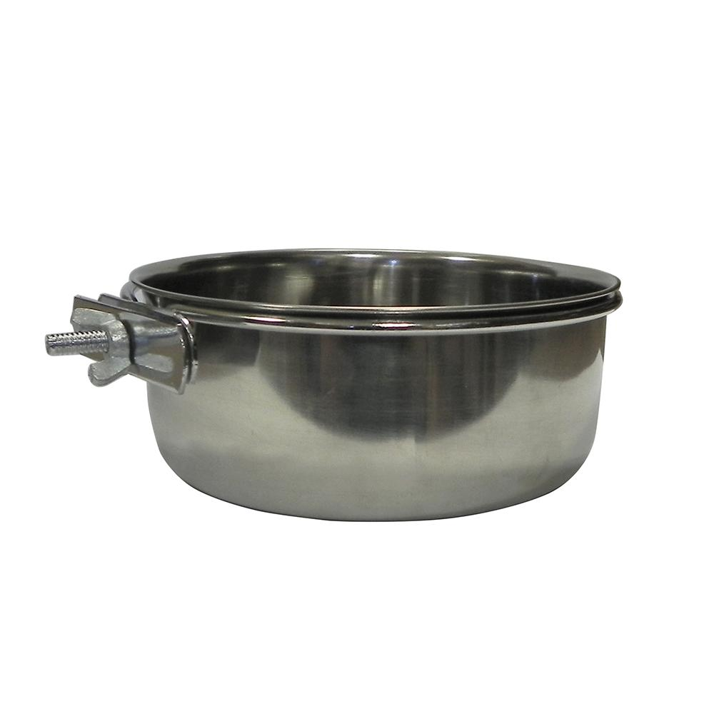 Stainless Bird Dish w/clamp 30 ounce