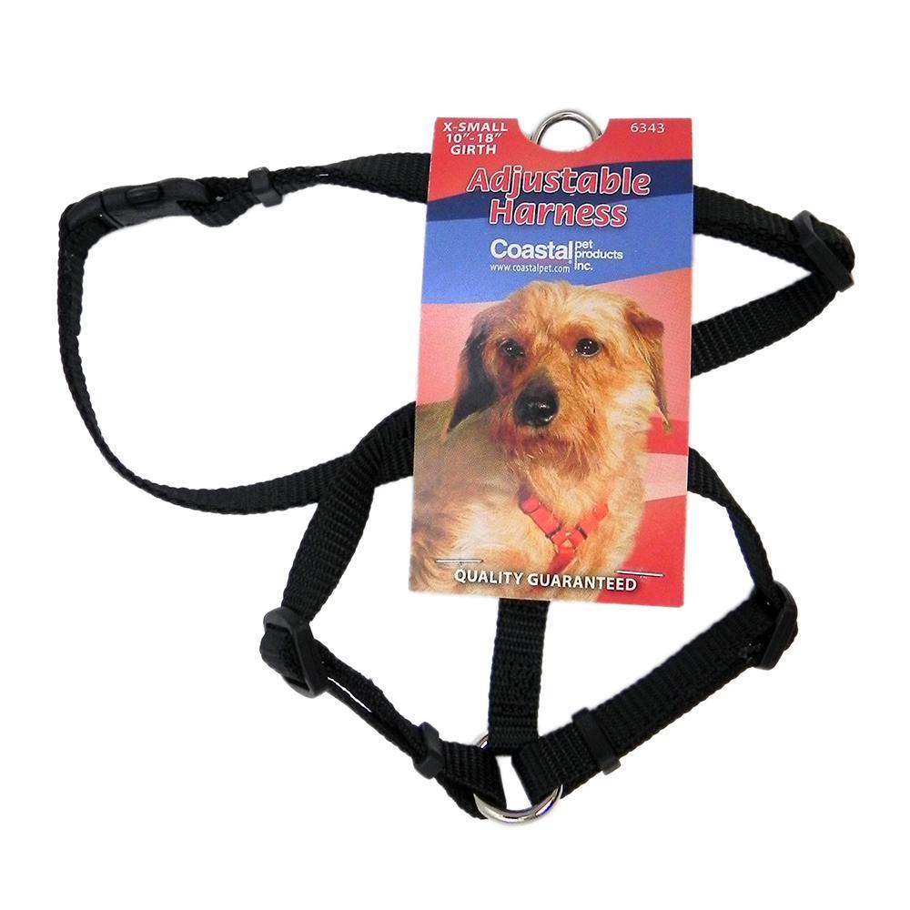 Adjustable XSmall Dog Harness 3/8-inch Black Nylon