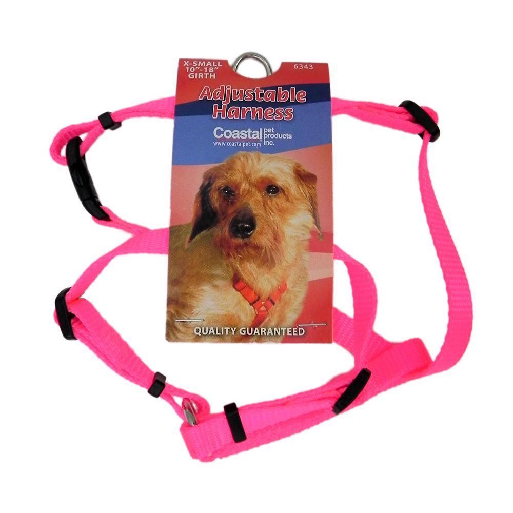 Adjustable XSmall Dog Harness 3/8-inch Neon Pink Nylon