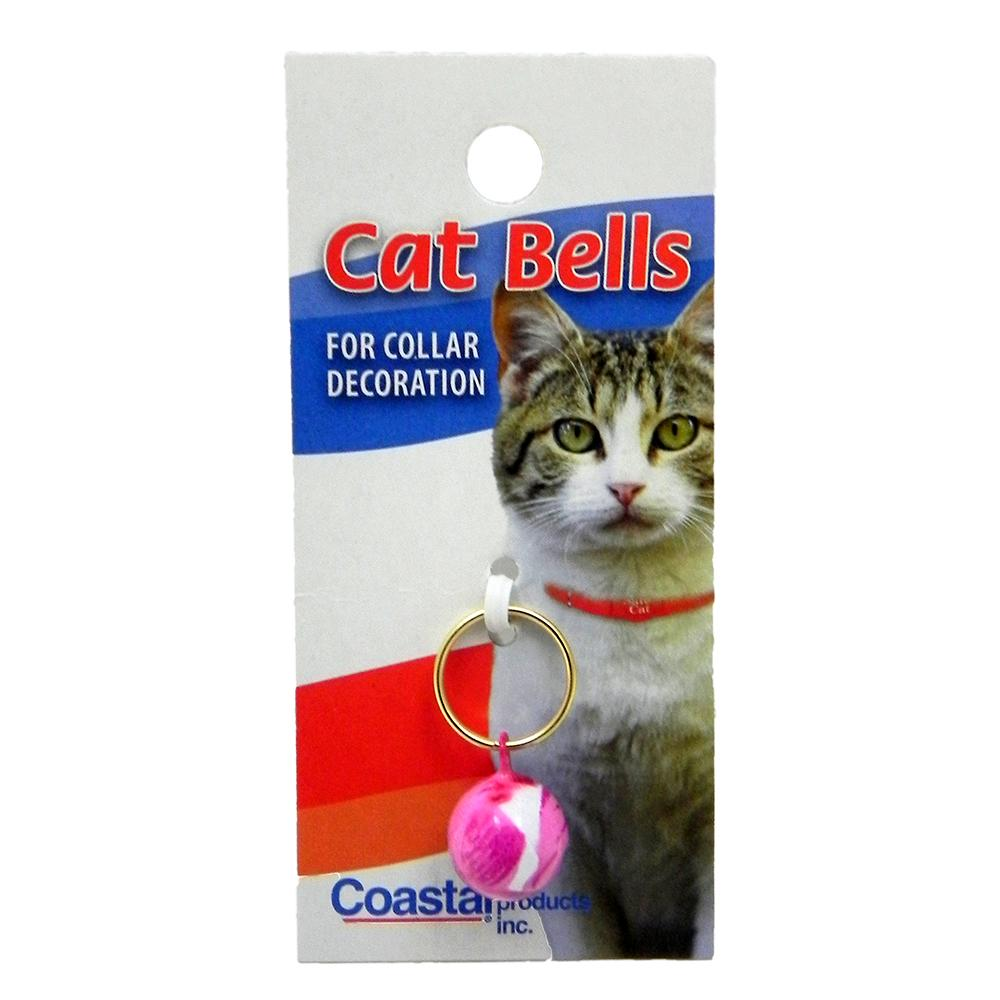 Cat Bell 3/8-inch Round with Pink Rose Design