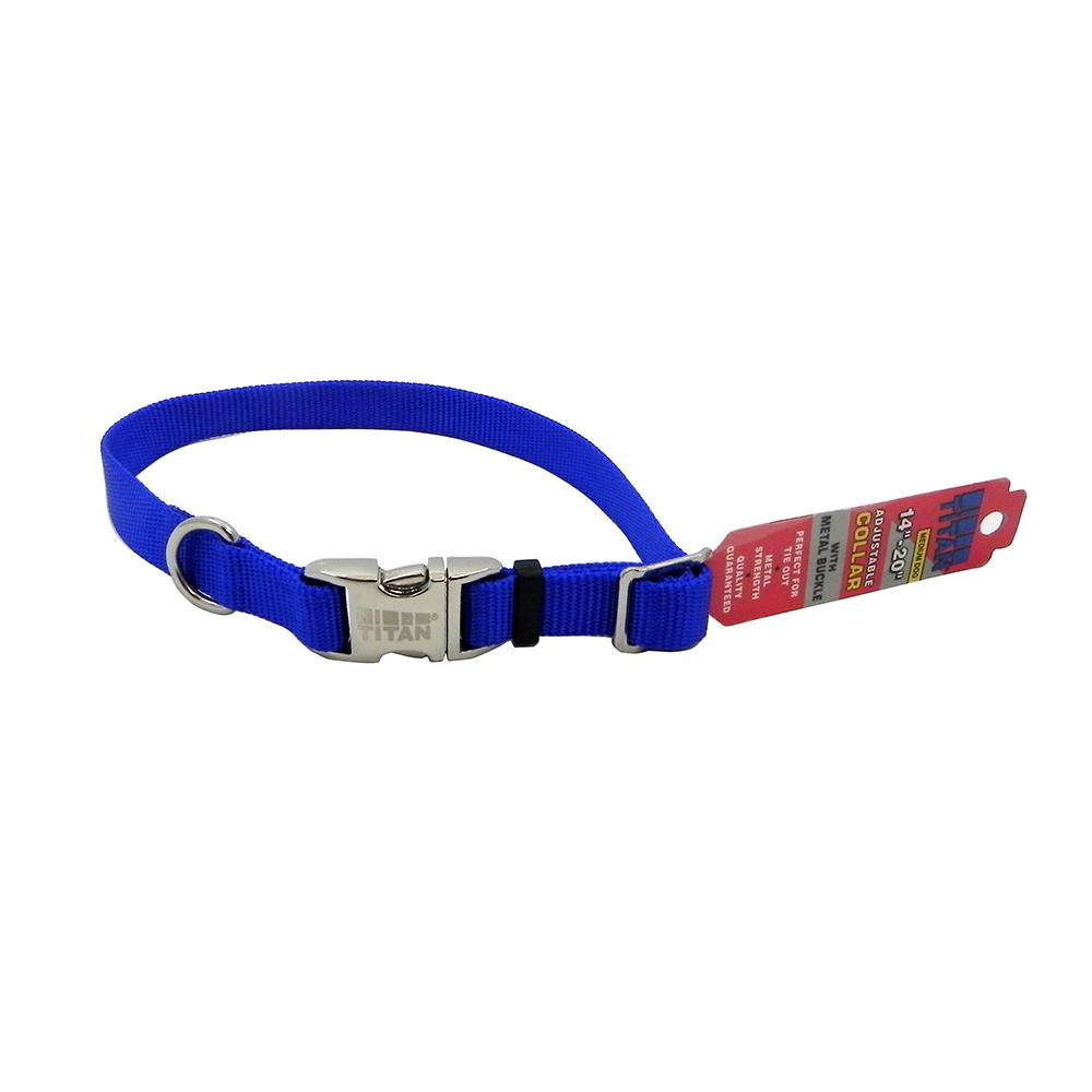 Titan Medium Blue Nylon Adjustable Dog Collar