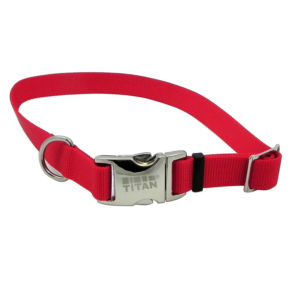 Titan Large Red Nylon Adjustable Dog Collar
