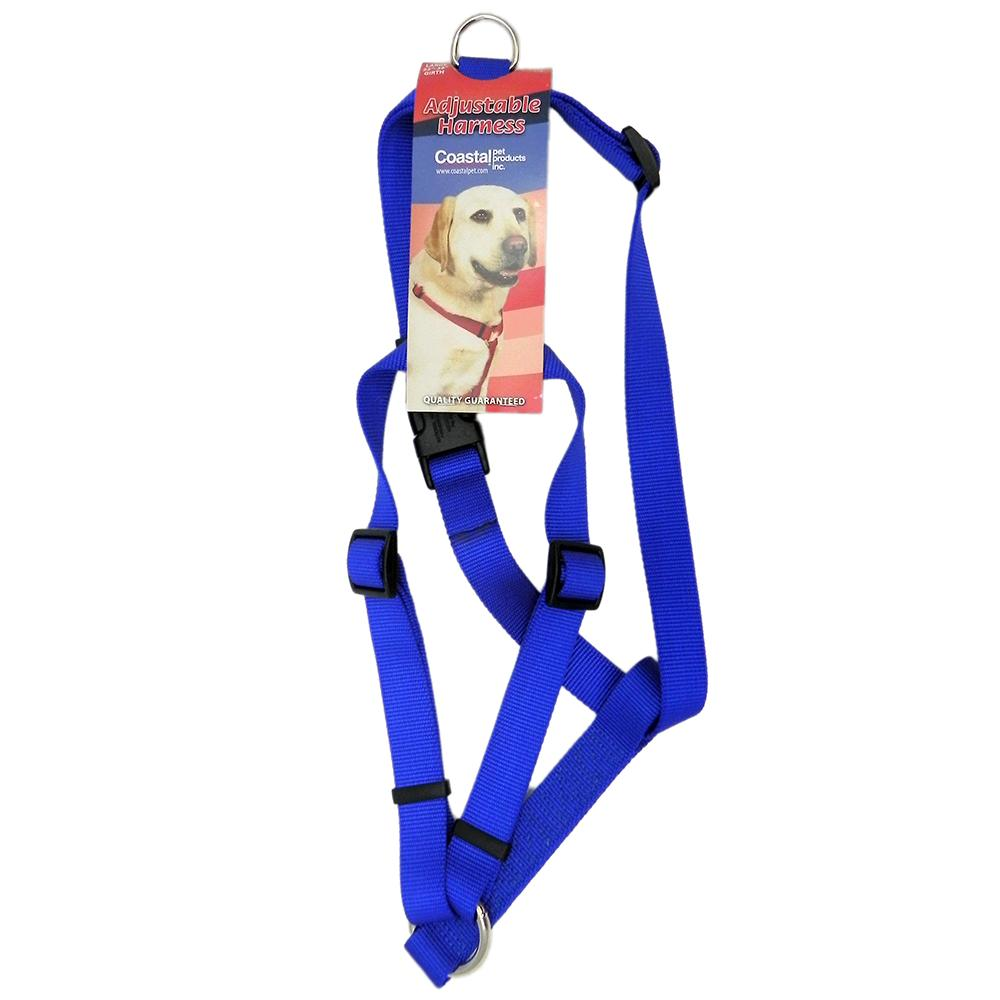 Adjustable Large Dog Harness 1-inch Blue Nylon