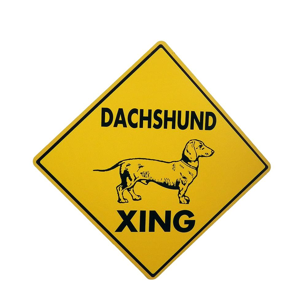 Sign Dachsund Xing 12 x 12 inch Aluminum