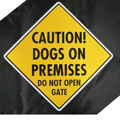 Caution Dogs on Premises Do Not Open Gate Sign Aluminum