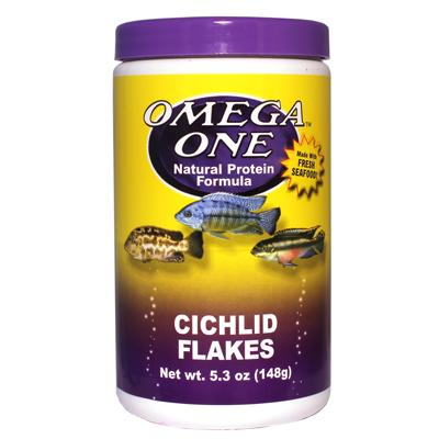 Omega One Cichlid Flakes Fish Food 5.3 ounce Click for larger image