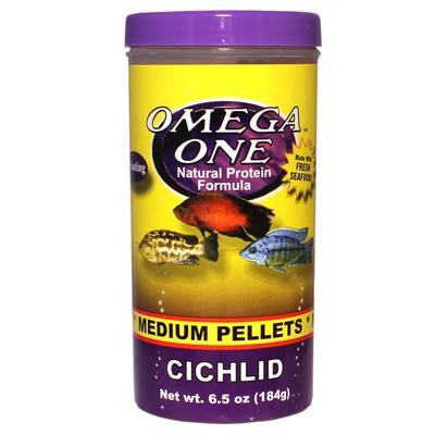 Omega One Medium Floating Cichlid Pellets Fish Food 6.5-oz Click for larger image