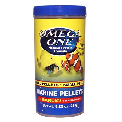 Omega One Garlic Marine Pellets Fish Food 8.25 ounce Click for larger image