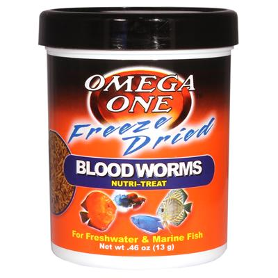 Omega One Freeze-Dried Bloodworm Fish Food .46 ounce