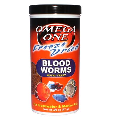 Omega One Freeze-Dried Bloodworms Fish Food .96 ounce Click for larger image