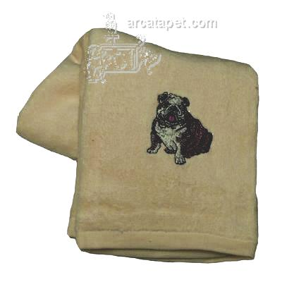 Cotton Terry Cloth Dog Hand Towel with Embroidered Bulldog
