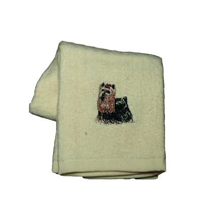 Cotton Terry Cloth Dog Hand Towel with Embroidered Yorkie