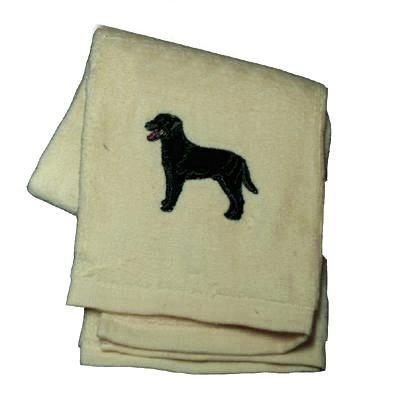 Cotton Terry Cloth Dog Hand Towel with Embroidered Lab Black