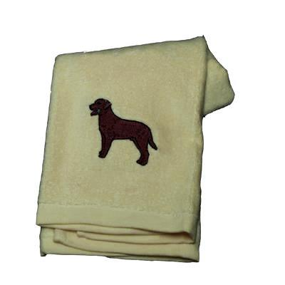 Cotton Terry Cloth Dog Hand Towel with Lab Chocolate