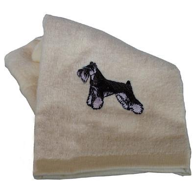 Cotton Terry Cloth Dog Hand Towel with Embroidered Schnauzer