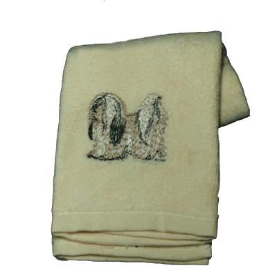 Cotton Terry Cloth Dog Hand Towel w/Embroidered Lhasa Apso