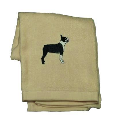 Cotton Terry Cloth Dog Hand Towel with Boston Terrier Image