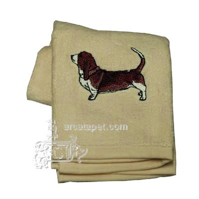 Cotton Terry Cloth Dog Hand Towel with Embroidered Basset