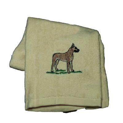 Cotton Terry Cloth Dog Hand Towel w/Embroidered Great Dane