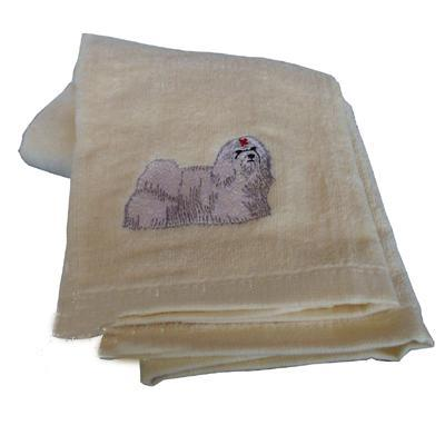 Cotton Terry Cloth Dog Hand Towel with Embroidered Maltese