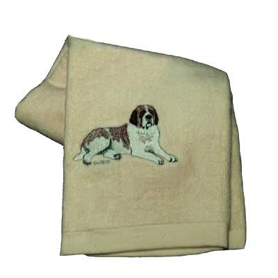 Cotton Terry Cloth Dog Hand Towel with Saint Bernard