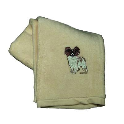 Cotton Terry Cloth Dog Hand Towel with Embroidered Papillon