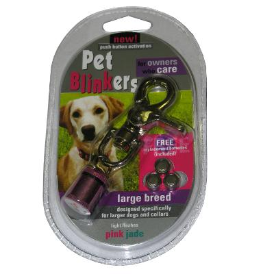 Flashing LED Pet Blinker Pink and Jade for Large Breeds