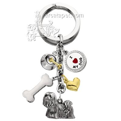 Key Chain Lhasa Apso with 5 Charms