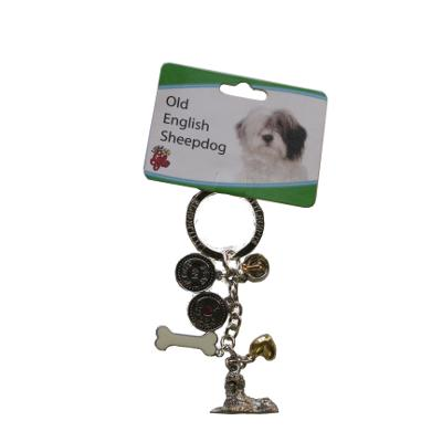 Key Chain Old English Sheepdog with 5 Charms