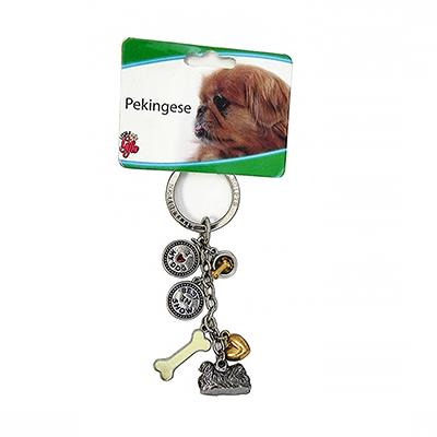 Key Chain Pekingese with 5 Charms