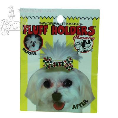 Rhinestone Dog Fluff Holder Green Bow