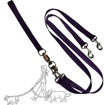 Pet Walker-Plus Nylon Leash 2-Dog Purple Large