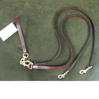 Pet Walker-Plus Brown Leather 2-Dog Leash Large