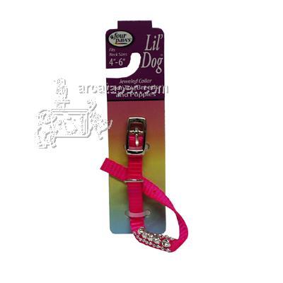 Nylon Lil' Dog Jeweled Dog Collar Pink Small