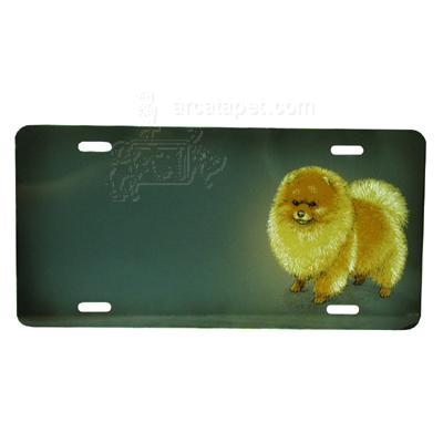 Aluminum Dog Breed License Plate with Pomeranian
