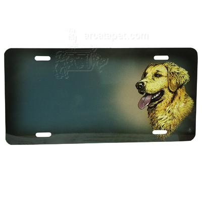 Aluminum Dog Breed License Plate with Golden Retriever