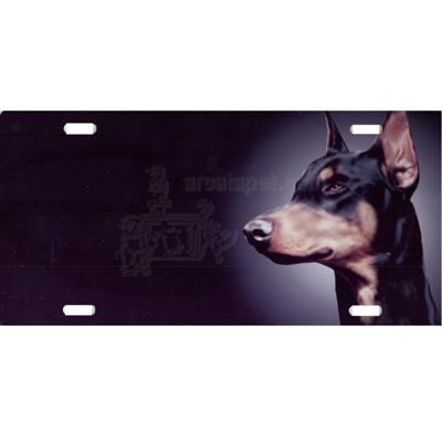 Aluminum Dog Breed License Plate with Doberman