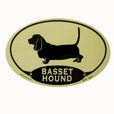 Euro Style Oval Dog Decal Basset Hound