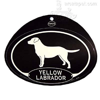Euro Style Oval Dog Decal Yellow Labrador