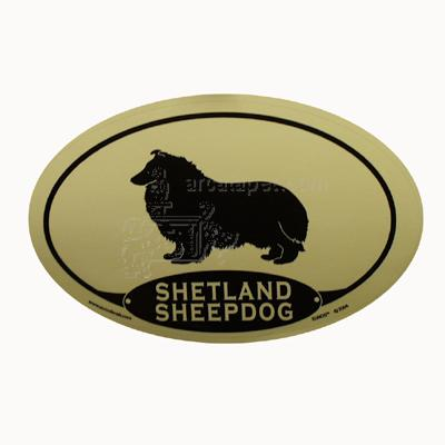 Euro Style Oval Dog Decal Shetland Sheepdog