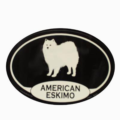 Euro Style Oval Dog Decal American Eskimo Dog