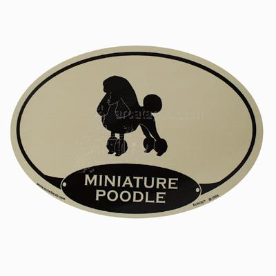 Euro Style Oval Dog Decal Minature Poodle