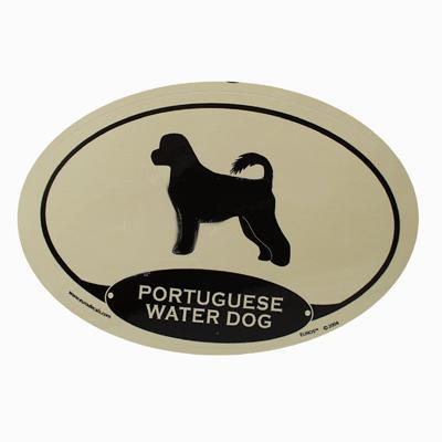 Euro Style Oval Dog Decal Portuguese Water Dog