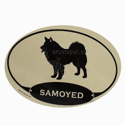 Euro Style Oval Dog Decal Samoyed