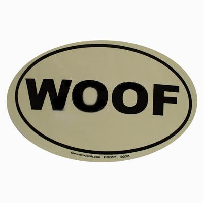 Euro Style Oval Dog Decal WOOF